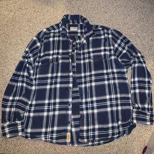 Blue plaid flannel button down